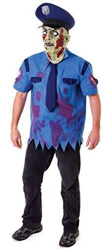 Herren Zombie Polizist Polizist + Maske Halloween Kleid Kostüm Schuhe (Polizist Zombie Kostüm)