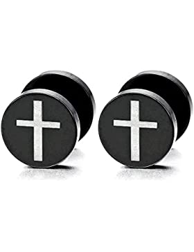 Schwarz Kreuz Herren Damen Ohrstecker Ohrringe Fake plugs Ohr Cheater Tunnel Gauges Ohr-Piercing Edelstahl, 1...