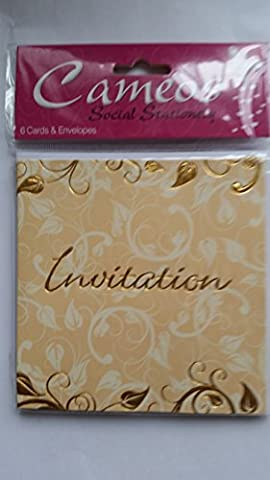6 Cameos Invitation (open) Cards with envelopes gold embossed swirl