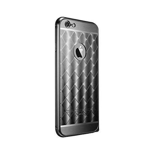 DBIT Boîtier Métallique Mince Aluminium Cadre Diamant Grille Panneau Arrière Coque pour Apple iPhone 6 Étui iPhone 6s Housse Coquille avec Dbit la poussière brancher stylet capacitif Rose-Or Noir