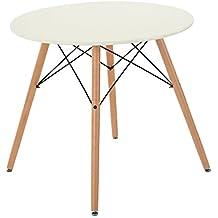 FurnitureR mesa de comedor redonda estilo moderno Retro escritorio con patas de madera de haya, redondo