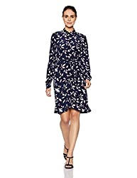 Tommy Hilfiger Womens A-Line Dress (A7AWV104_Hatty Prt / Peacoat_L)