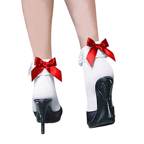 Eastery Women'S Black Lace Ruffle Fishnet Mesh Ankle Short Socks Tie-Bow Einfacher Stil Vintage Elastisch Elegante Freizeitsocken Party Kurz Socken (Color : White 2, Size : One Size) Stil Bow Tie