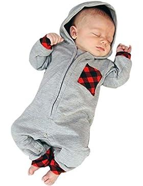 Babykleidung,Sannysis Baby Junge Mädchen Mit Kapuze Spielanzug Jumpsuit Outfits Kleidung 3-18Monat (90, Grau)