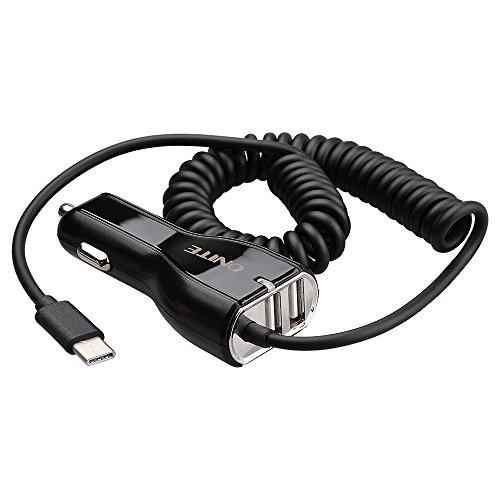 Onite Dual USB 4.8A Typ C KFZ Ladekabel mit Coiled Cord für Samsung Galaxy S8,Lumia 950XL, Moto Z, LG G5 G6, Samsung A5 A7, Google Nexus Pixel XL, 5X 6P, Huawei P9, P10, Schwarz