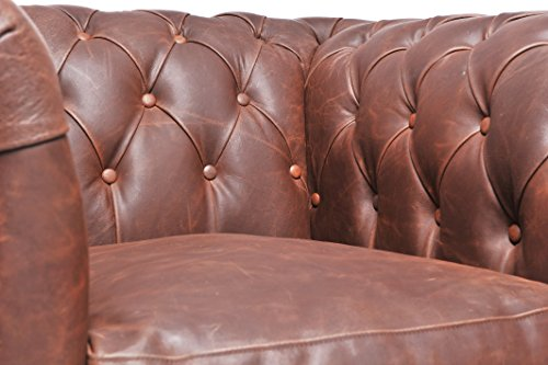 Original Chesterfield Sofa und Sessel – 1 / 1 / 3 Sitzer – Vollständig Handgewaschenes Leder – Vintage Braun