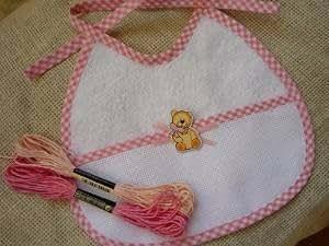 Kit Broderie - Cadeau de Naissance point de croix - Bavoir bébé ROSE