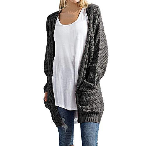 iHENGH Damen Kardigan Top,Ladies Lange ÄRmel Knitwear Open Front Cardigan Pullover LäSsige Oberbekleidung Outwear Coat Tops (EU-36/CN-S,Dunkelgrau)