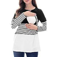 Camiseta de Lactancia Mujer Manga Larga Camisas Rayas Ropa Embarazadas Otoño Invierno Basica Tops Breastfeeding Blusa de Maternidad