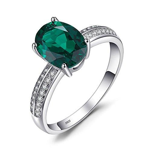 JewleryPalace 1.4ct Grüner Nano Russischer Smaragd Ring 925 Sterling Silber