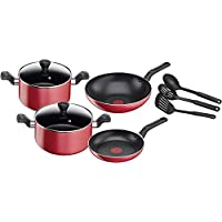 TEFAL Super Cook Non Stick w/Thermo-spot 9 PCS Cooking Set Red B243S985