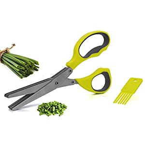 Granny´s Kitchen 5 Klingen Kräuterschere + Reinigungskamm – Universal Küchenschere zum Kräuter schneiden – Edelstahlklingen Schere Spülmaschinenfest