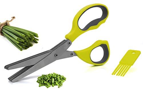 Granny´s Kitchen 5 Klingen Kräuterschere + Reinigungskamm - Universal Küchenschere zum Kräuter schneiden - Edelstahlklingen Schere Spülmaschinenfest