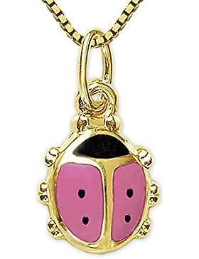 CLEVER SCHMUCK-SET Goldener Kinder Anhänger Mini Marienkäfer 8 mm rosa und schwarz lackiert 333 GOLD 8 KARAT und...