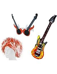 Alsino KV-26 Karneval Rock Star Perücke Set Punk rockig aufblasbare Gitarre Rocker