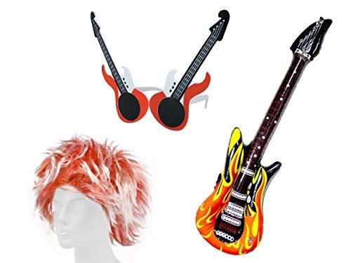 Alsino KV-26 Karneval Rock Star Perücke Set Punk rockig aufblasbare Gitarre (Punk Rocker Perücke Kostüme)
