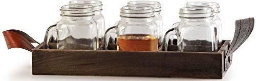 Circleware Country Mini Mason Jar Mug Clear Glass Shot Glasses Set, Glass Handles and Wodden Tray, 5 Ounce, 7 Pc Glassware Drinkware Barware Set by Circleware