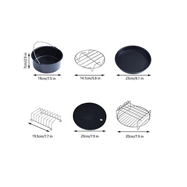 Heiluftfritteuse Zubehr Air Fryer Zubehr Kit Enthlt 6 Teile Metallhalter Spieregal Kuchenrohr Silikonmatte Pizzapfanne Brotablage