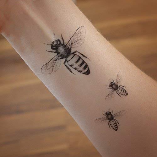 Set von 3 temporären Tätowierungen der Honigbiene. Honigbiene Geschenk.