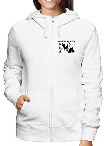 T-Shirtshock Sweatshirt Damen Hoodie Zip Weiss WTC0998 Aikido Kanji Symbol Kanji-zip Hoodie