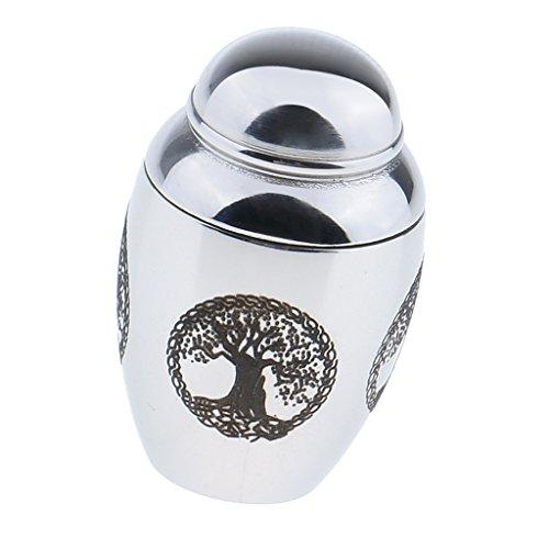 Mini Urna de Cremación de Mascotas de Acero Inoxidable Urna de Contenedor de Doble Gato - Patrón Árbol