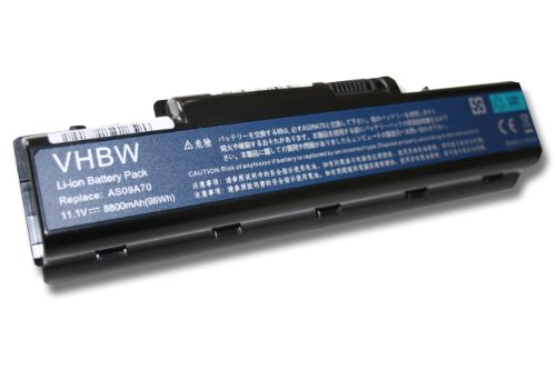 vhbw Li-Ion Akku 8800mAh (11.1V) für Notebook Laptop Acer Aspire 5732ZG, Packard Bell EasyNote TJ62, TJ63, TJ64 wie AS09A31, AS09A41, AS09A56.