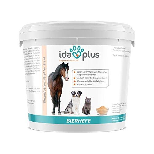 IdaPlus reine BIERHEFE 3 Kg Nahrungsergänzung | Für gesunde Haut & Fellglanz | Naturprodukt für Pferde | Praktischer Dosierlöffel inklusive