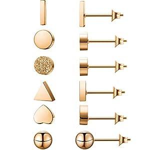 6 Paar Herz Dreieck Rechteck Kreis Matt Kreis Kugel Überzogene Ohrstecker Mini Bar Ohrring für Damen Mädchen (Silber)