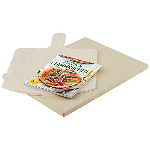 """Levivo Pizzastein/Brotbackstein aus hitzebeständigem Cordierit, 30 x 38 x 1,5 cm mit Levivo Pizzaschieber aus Holz & GU Buch """"Pizza, Flammkuchen & Co."""""""