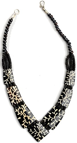 Buddhistische Damen Halskette aus dunklem Yak-Horn Ethno-Schmuck Kette