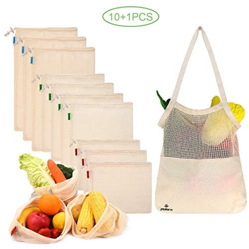 PHILORN 11 Borse di Prodotti Riutilizzabili Sacchetti in Rete per Conservare Frutta e Verdura Sacchetti in Cotone Traspirante per la Spesa Sacchetti di Frutta e Verdura