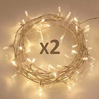 [2 Pack] 40 LED Guirnaldas Luminosas Exteriores [Temporizador] de Pilas (8 Modos...