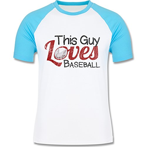 Baseball - This Guy loves Baseball - Vintage look - L140 Männer Raglan Baseball Shirt Weiß/Türkis