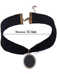 lureme® Vendimia Clásico Joyería Sencillo Negro Velet with Oval Negro Enamel Metal Pendant Elegante Choker Collar (nl004177)