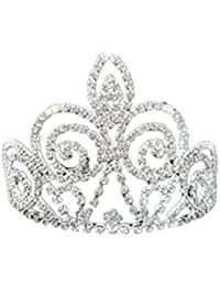 Aleacion De Diadema Nupcial Corona Diamantes De Imitacion Tiara De La Princesa Boda Del Baile De Plata