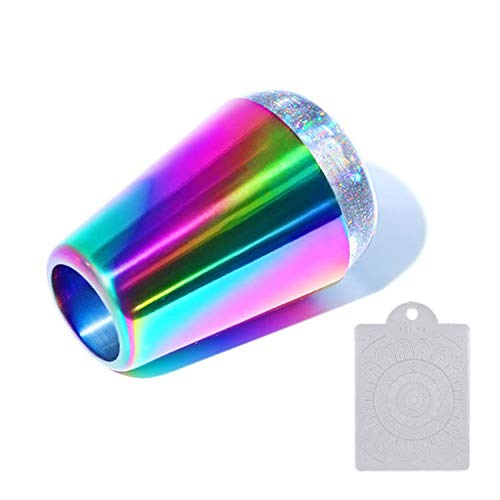 Cabeza holográfica de estampador de uñas Ebanku, mango arco iris brillante estampador de silicona transparente con raspador de uñas para transferencia de plantillas de estampado de uñas