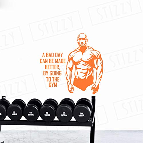 xingbuxin Wandtattoo Fitness Gym Mann Wandaufkleber Sport Spruch Abnehmbare Moderne Dekor Adhesive Power Poster Kunstwand Design 5 43x42 cm