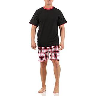 Herren Shorty Rundhals 50/L unifarbiges schwarzes Oberteil Hose kariert pyjama herren baumwolle herren nachtwäsche kurz herren-schlafanzug kurze kurz herren schortie schlafanzug herren kurz tom tailor