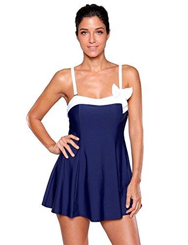 LookbookStore Damen Marine Schwimmkleid Röckchen Bandeau Einteiler Badeanzug Schwimmanzug, Size (Eines Das Tragen Badeanzug)