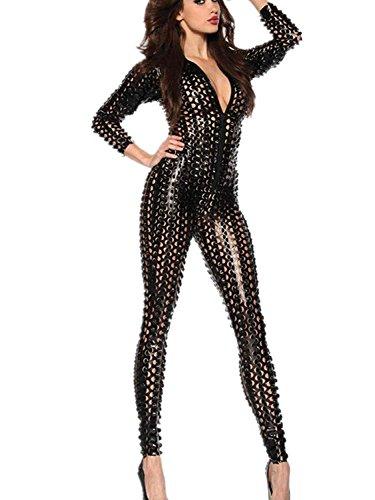 Delle donne sexy Fori Ecopelle Catsuit bagnato nightclub partito Cosplay tuta Body , 002 , M