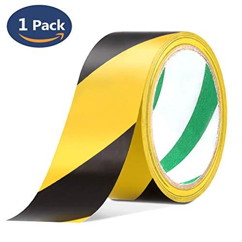 Reemky-Sicherheitsklebebänder 2er Pack 45mm x 20m Schwarz & Gelb Selbstklebendes Warnband (1 Packung) - 2 1 Klebeband Schwarz