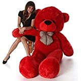 JMS Teddy Bear with Neck Bow 4 Feet 122 cm Red Stuffed Spongy Lovable/Huggable Teddy Bear with Neck Bow for Girlfriend/Birthday Gift/Boy/Girl