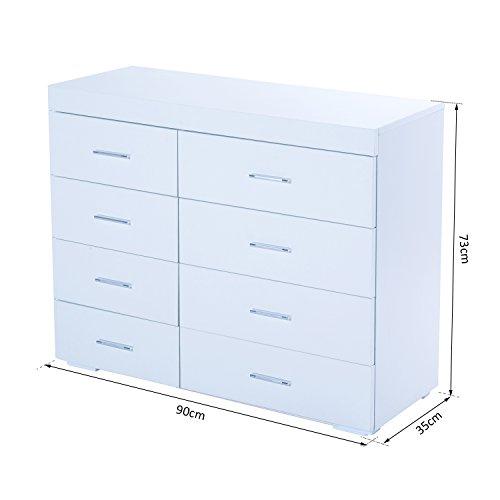 Homcom mobile con cassetti cassettiera in legno per camera cucina bagno 90 35 73cm bianca - Cassettiera per cucina ...