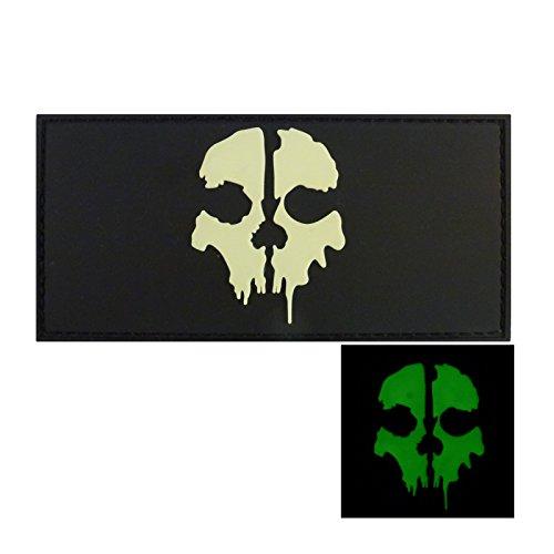Preisvergleich Produktbild Glow Dark Call of Duty Ghosts COD PVC Gummi 3D Fastener Aufnäher Patch