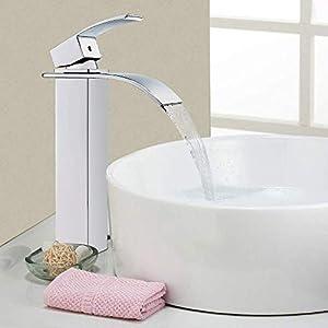 Auralum mejorada cascada grifo cuadrado de España swsal Válvula y mangueras de acero inoxidable 304DVGW–Grifo de baño para lavabo (Alto: 7inch), Beige