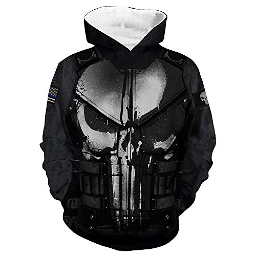 Wild WY Marvel Punisher Hoodie 3D Digitaldruck Freizeitpullover Cosplay Anime Jacke Black-S -