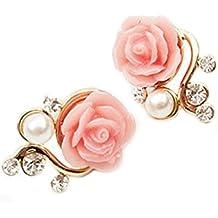 Pendientes - TOOGOO(R)Pendientes cristalinos de perno prisionero de flor de rosa de perla