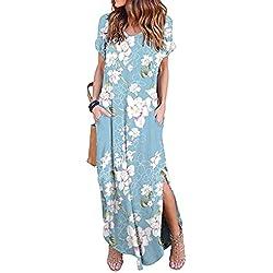 Vestidos Mujer Casual Playa Largos Verano Floral Vestido Boho Hendidura Falda Larga Maxi Vestido Playeros Lightbluefloral L