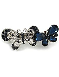 Avalaya - Pasador para el pelo, diseño de mariposa, color azul medianoche, con doble mariposa, acabado plateado envejecido, 65 mm de ancho