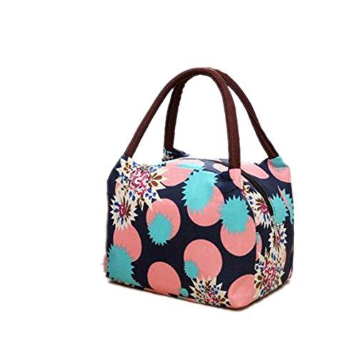 Rieovo 2017pranzo borse per donne floreale a strisce contenitore termico per pranzo picnic, Kids uomo Cooler Tote Deep Blue circle